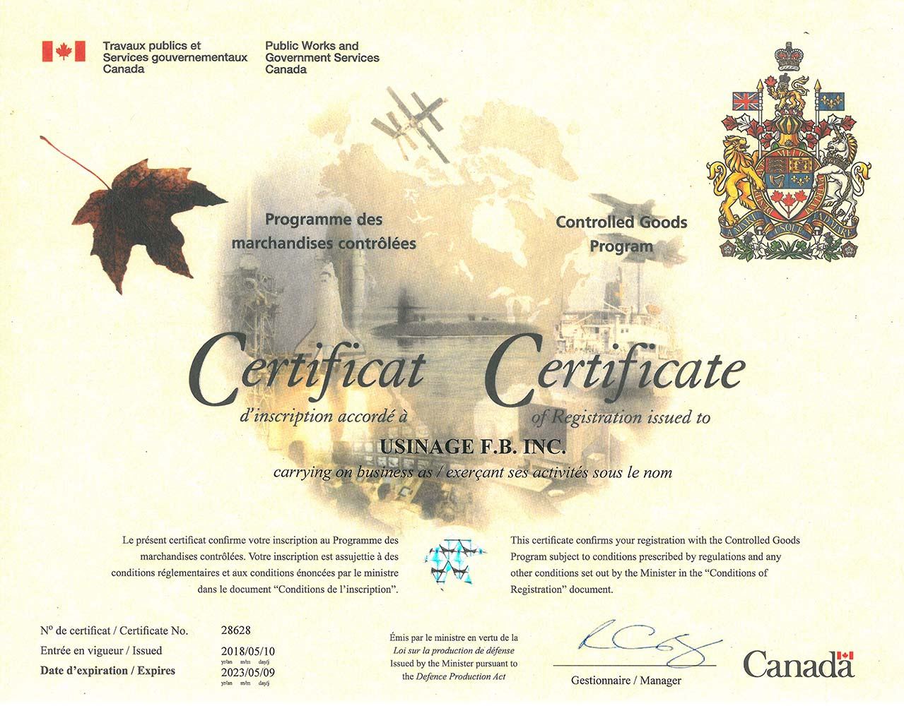 Certification PMC - Usinage FB - Québec, Canada